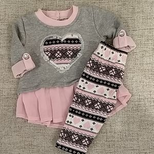 Pink and gray sparkly outfit